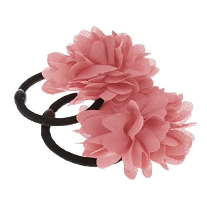 FLOWER HAIR BANDS GIRLS//WOMENS BOBBLES FLOWER HAIR ELASTIC HAIRBAND HAIR BAND UK