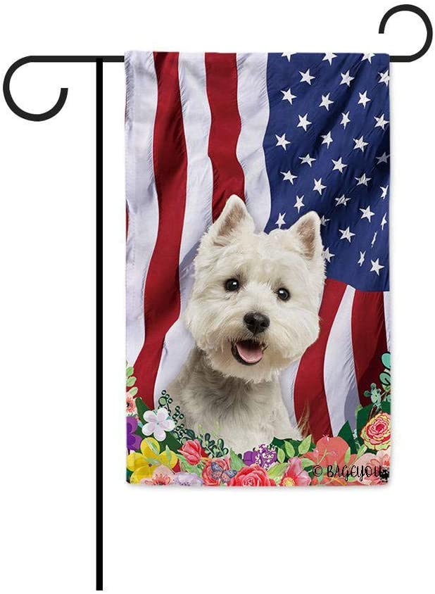 American Flag with My Love Dog West Highland White Terrier Westie 4th of July Patriotic Decoraive Garden Flag for Outside Colorful Flowers Summer Home Decor Banner 12.5X18 Inch Printed Double Sided