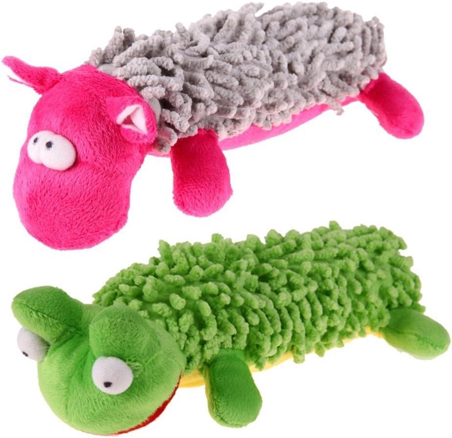 Perro de peluche juguete, 2 Pack Mop terciopelo perro sonido juguete Squeaky perro para perros pequeños rana hipopótamo animales formación juguetes 2 Color conjunto: Amazon.es: Productos para mascotas