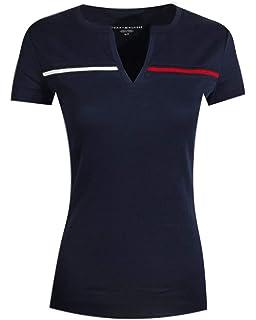 ae161253 Tommy Hilfiger Women Wide Stripes Logo V-Neck T-Shirt (XS, Grey ...