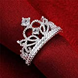 Sumanee Women 925 Silver Plated Princess Wedding Band Zircon Crown Ring Jewelry (9)