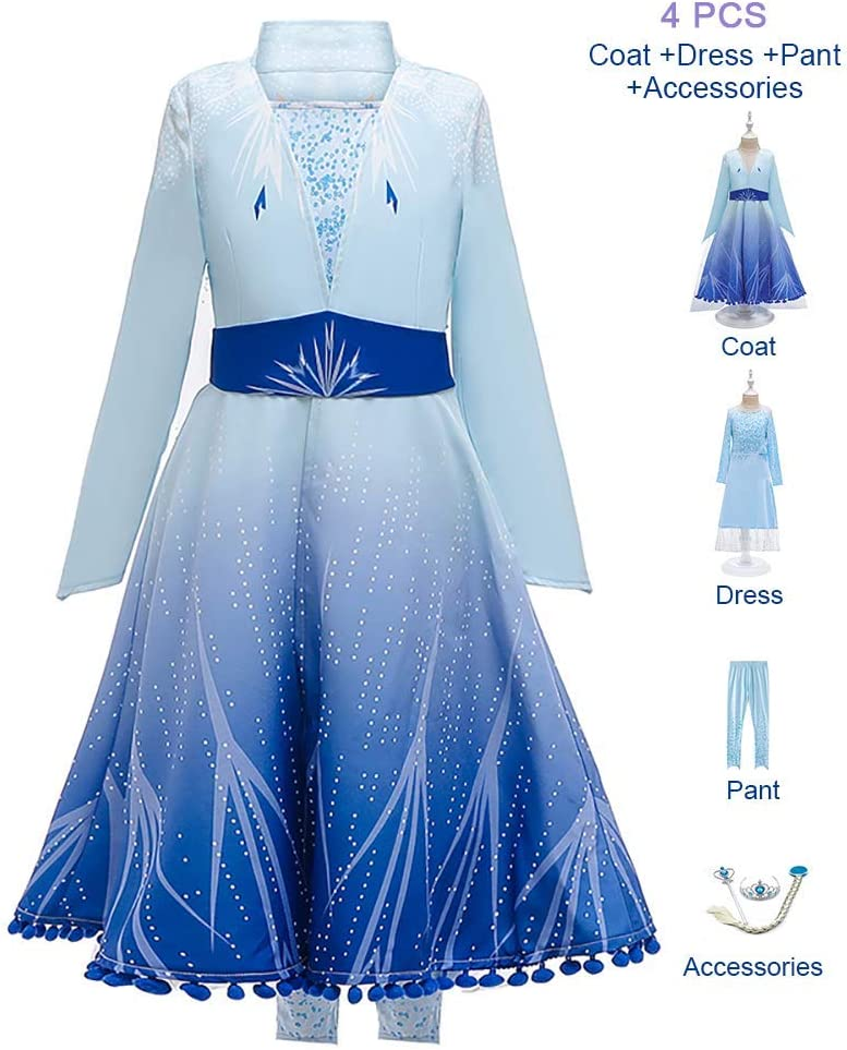 OwlFay Disfraz Elsa Frozen Niñas Princesa Vestido Reino de Hielo ...