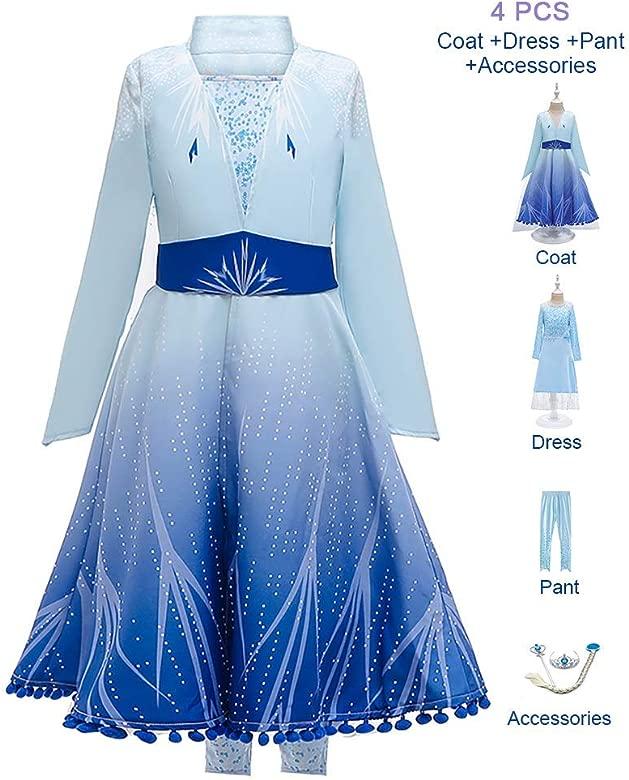 OwlFay Disfraz Elsa Frozen Niñas Princesa Vestido Reino de ...
