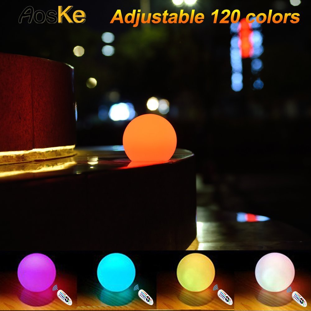 AsoKe 4.7-inch Floating LED Pool Glow Light Orb Ball Outdoor Living Garden Light Decor Waterproof Color Changing Ball for kids children