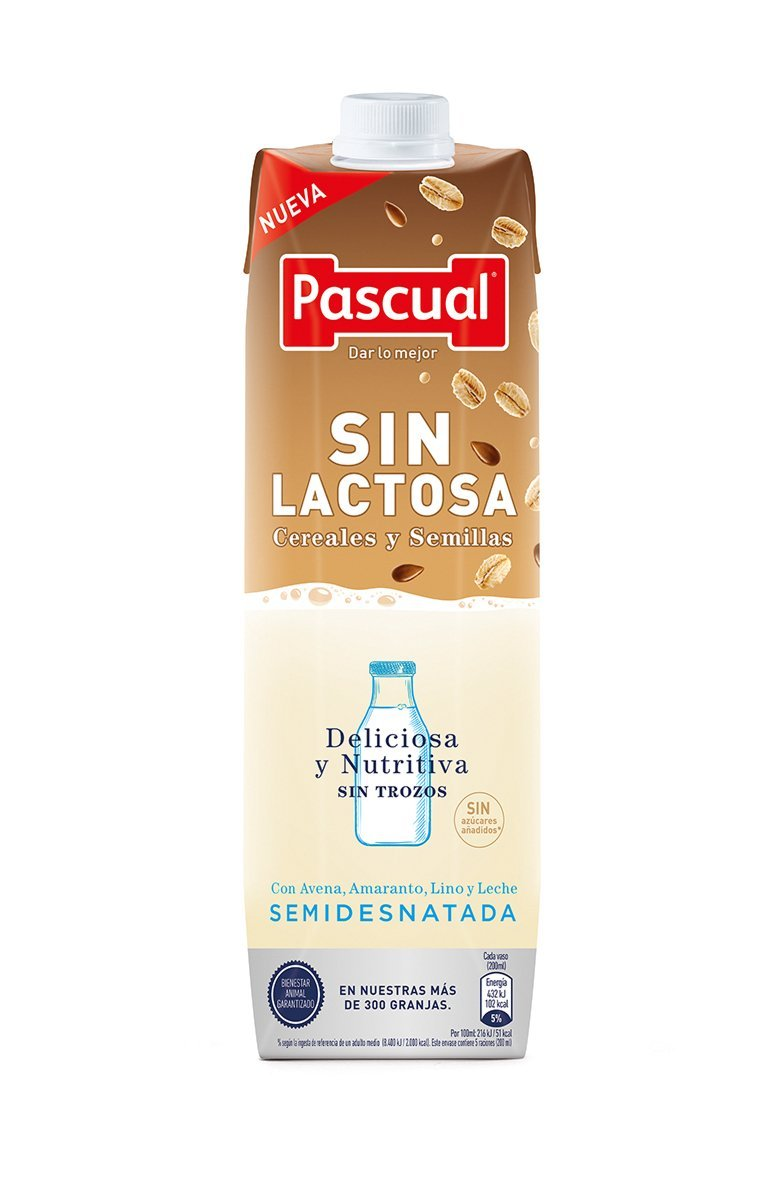 Pascual Cereales y Semillas Semidesnatada Sin Lactosa - 1 L: Amazon.es: Alimentación y bebidas