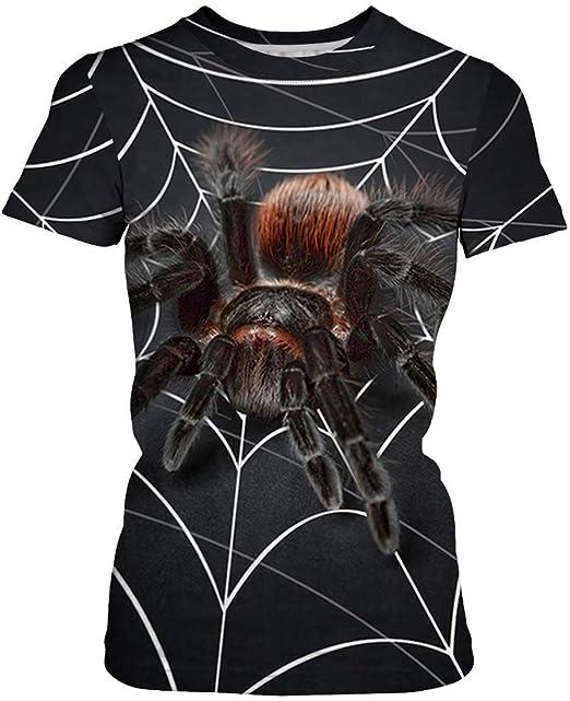 b11442af2 FLYCHEN Camiseta para Mujeres con Moda 3D Impreso Casual Novedad Dibujos  Geométricos de Animales Women s T