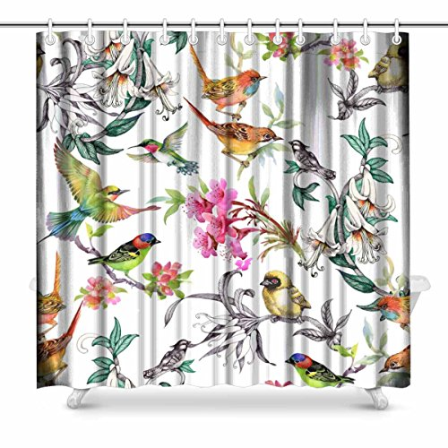 InterestPrint Watercolor Design Hand Drawn Pattern with Tropical Summer Flowers and Exotic Birds on White Country House Image Art Bathroom Decor Shower Curtain with Hooks, 72 x 72 Inches Extra ()