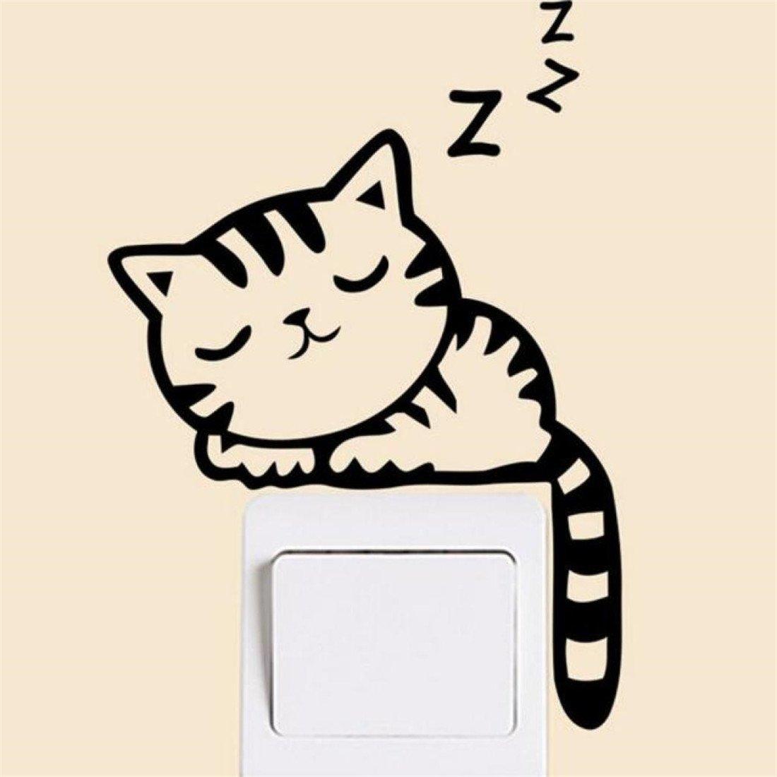 Wandsticker, New Katze Wand Sticker Lichtschalter Decor Aufkleber Kunst Wandbild Baby Kinderzimmer ❤Amlaiworld