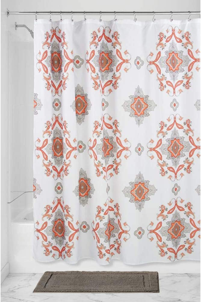 "mDesign Decorative Paisley Damask Print - Easy Care Fabric Shower Curtain with Reinforced Buttonholes, for Bathroom Showers, Stalls and Bathtubs, Machine Washable - 72"" x 72"" - Coral/Taupe"