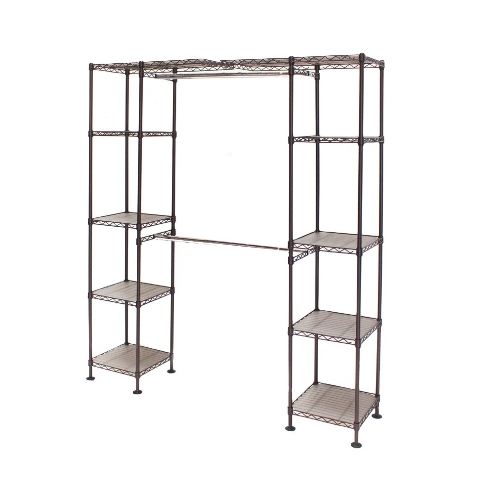 "Seville Classics Expandable Double-Rod Clothes Rack Closet Organizer System, 58"" to 83"" W x 14"" D x 72"""