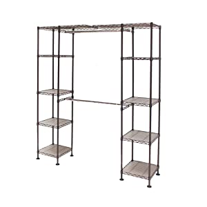 "Seville Classics Expandable Double-Rod Clothes Rack Closet Organizer System, 58"" to 83"" W x 14"" D x 72"""