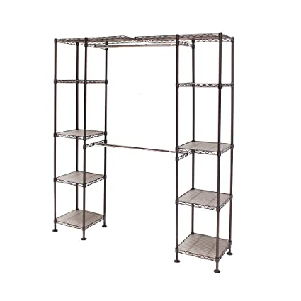 Com Seville Classics Double Rod Expandable Clothes Rack Closet Organizer System 58 To 83 W X 14 D 72 Satin Bronze Home Kitchen