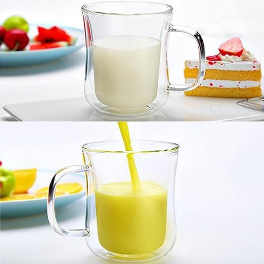 Alto vidrio de borosilicato Espresso café taza – Slim doble pared con aislamiento de calor taza de café para café té jugo leche – oficina Personal diario must-have vaso (6.8 fl. oz/200