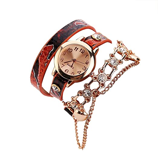 Kinlene women watch - Reloj de pulsera mujer ,Relojes baratos (Rojo)