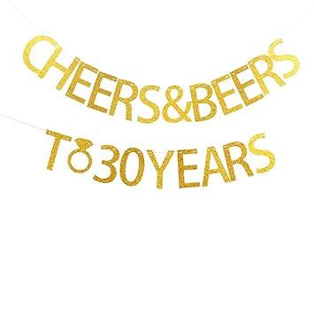 Amazon.com: Cheers y cervezas a 30 años Banner para 30 ...