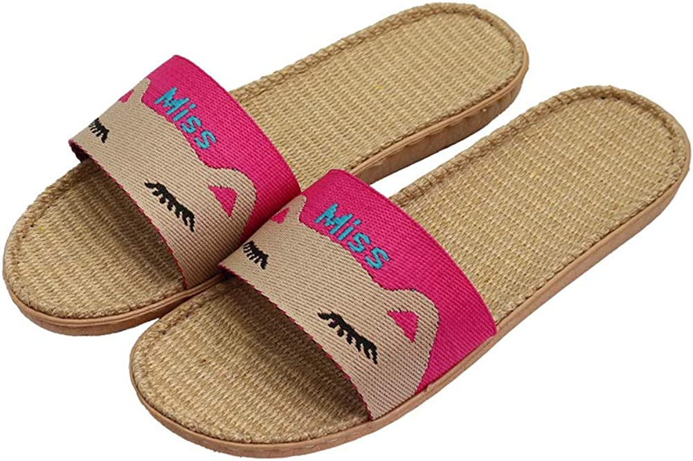 Hwayslon Flax Slippers Unisex Linen Summer Beach Shoes Lightweight Skidproof Indoor Slippers Home Breathable Sandals