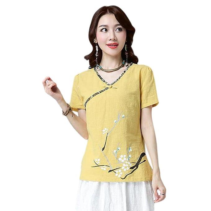 d38bd61c9 Hzjundasi Mujer Estilo chino Retro Imprenta Algodón Lino Blusas Verano  Cuello en V Camiseta de manga