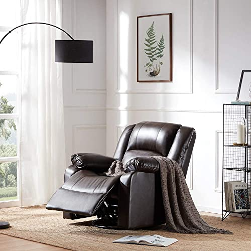 Belleze Faux Leather Rocker and Swivel Glider Recliner Living Room Chair Brown