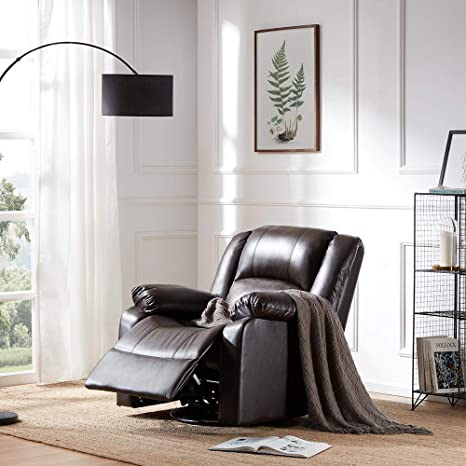 Strange Belleze Faux Leather Rocker And Swivel Glider Recliner Living Room Chair Brown Inzonedesignstudio Interior Chair Design Inzonedesignstudiocom