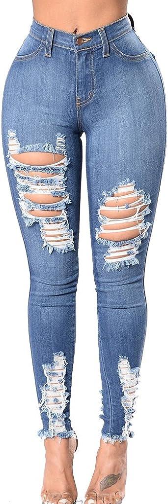 Mujeres Talla Grande Skinny Jeans Denim Pantalones Rotos Leggings Elasticos Jeggings Zarco 3xl Amazon Es Ropa Y Accesorios