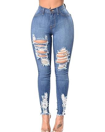 Vaqueros Mujer Tallas Grandes Pantalones Rotos Mujer Negros Skinny Jeans Cintura Alta Jeggings Mezclilla Talle Alto Elasticos Nails Passion It