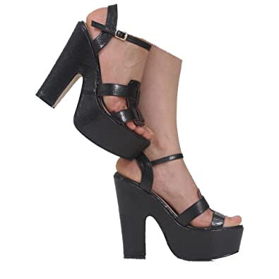 9801b1cdf47 CORE COLLECTION Womens Demi Chunky Wedge Platform PEEP Toe HIGH Heel Ankle  Strap Shoes Size 3-8  Amazon.co.uk  Shoes   Bags