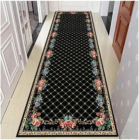 WWWANG 回廊の入り口廊下、ブラック、サポートのカスタマイズのためのランナーラグ滑り止め低パイル幾何学的な格子デザイン感熱印刷 (Size : 1.1X2m)