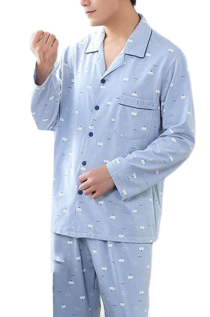 Cromoncent Mens Comfort Print Cotton Long Sleeve Button Down Pajama Set