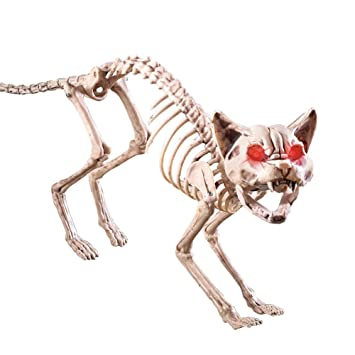 scary sound activated skeleton cat halloween decoration - Skeleton Halloween Decoration