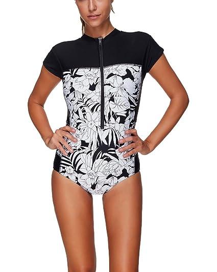Mujer Traje De Baño Bikini Manga Corta Una Pieza Beachwear ...