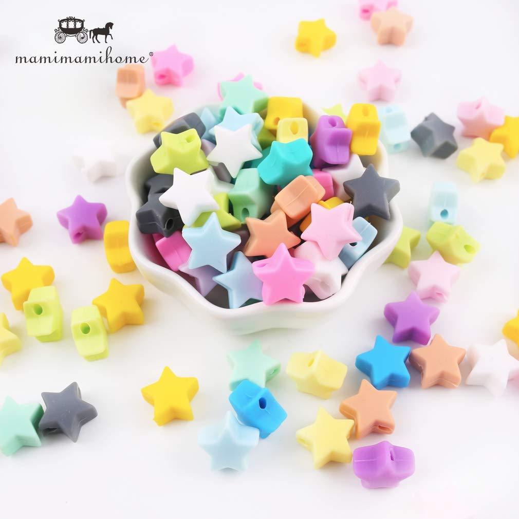 en forma de estrella de silicona 20pcs de los granos de la joyerí a DIY de la categorí a alimenticia Mordedor libre de BPA respetuoso del medio ambiente Collar juguetes mordedores para bebé s o pulsera Mamimami Home