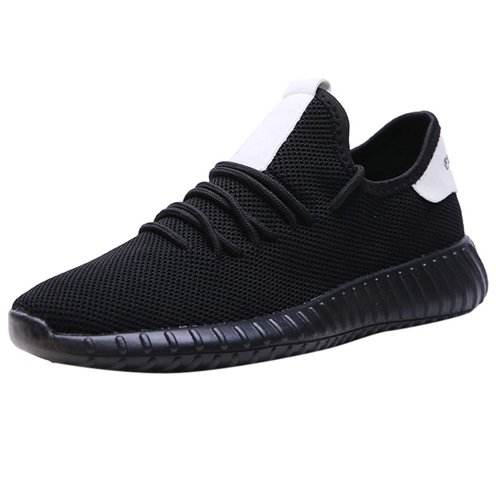 Sunsee-Men Shoes Men's Casual Lightweight Comfortable Breathable Walking Sneakers Running Shoes (US 8, Black)