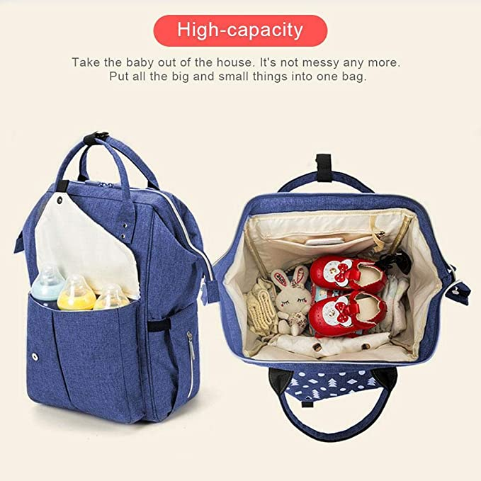 Diaper Bag Backpack, Multi-Functional Large Capacity Travel Baby Bag Backpack, Waterproof Maternity Nappy Bag Changing Bags with Insulated Pockets/Stroller Straps/Built-in USB Charging Port(Blue)