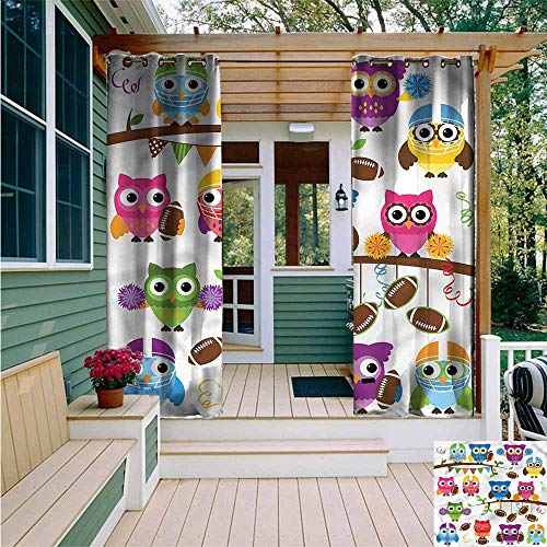 Beihai1Sun Outdoor Grommet Top Curtain Panel,Owls Cheerleader League Team,for Patio/Front Porch,W84x84L