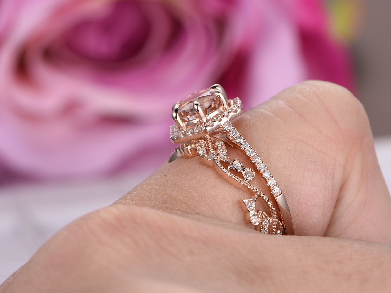 Amazon.com: Round Morganite Engagement Ring Set Pave Diamond Wedding ...