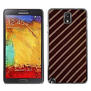 Caucho caso de Shell duro de la cubierta de accesorios de protección BY RAYDREAMMM - Samsung Galaxy Note 3 N9000 N9002 N9005 - Stripes Fabric Pattern Design Textile Brown