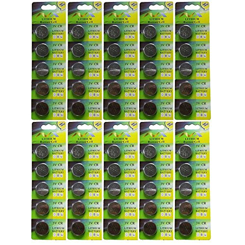 50 Pack 3V High capacity Lithium Button Coin Cell Batteri...