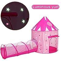 ACTNOW Tienda campaña Infantil Luminosa con túnel para niños/Castillo con Estrellas Luminosas en la