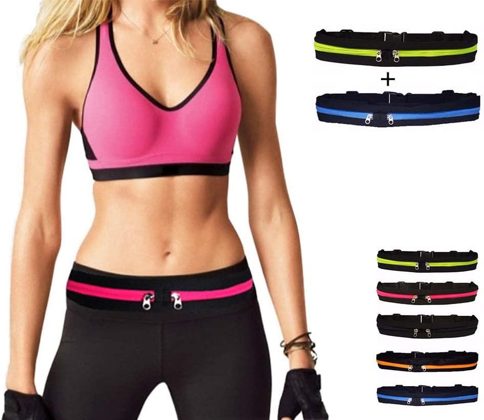 Running Belt 2 Pack,Sport Fanny Pack with 2 Expandable Pockets,for Jogging, Cycling and Outdoors with Water Resistant Pockets Fitness Belt for Women and Men