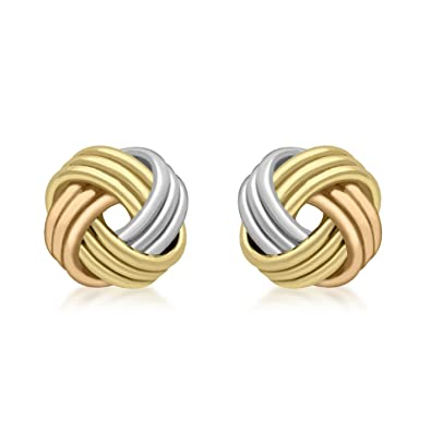 7ee84bee8 Carissima Gold 9 ct 3 Colour Gold Knot Stud Earrings: Amazon.co.uk:  Jewellery