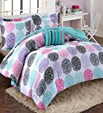 Girls Teen Kids Modern Bedding Set Aqua Pink Purple Dots Reversible Comforter with Shams and Striped Accent Pillow. Includes Bonus Sleep Mask From Designer Home. (Full/Queen)