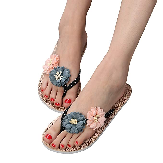 7c7ff3bc005b Ljnuanrg Summer Women s Non-Slip Flower Flip Flops Slippers Ladies Sandals  Flat Beach Slippers Shoes