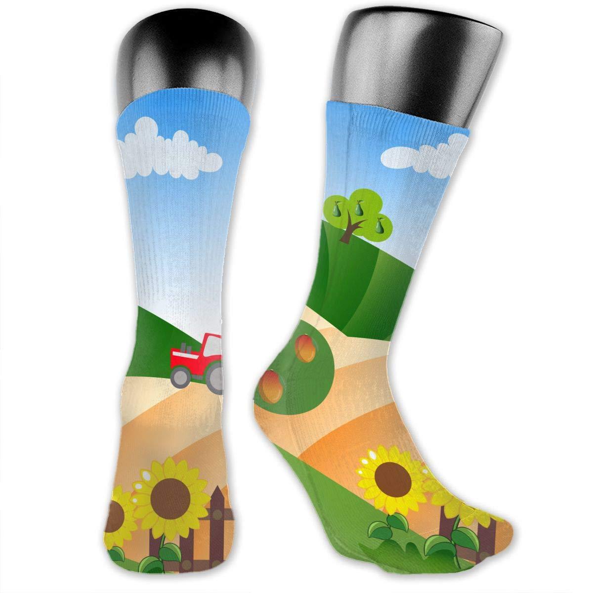 OLGCZM Farm Pattern Men Womens Thin High Ankle Casual Socks Fit Outdoor Hiking Trail