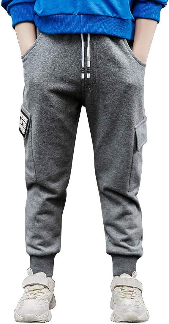 LAPLBEKE Niño Cargo Pantalones Deportivos De Chándal Joggers Pantalón Largos Cintura Elástica Primavera Otoño Algodón: Amazon.es: Ropa y accesorios
