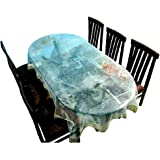 Generic Classic Transparent 6 Seater Oval Dining Table Cover with Golden Lace (Oval)