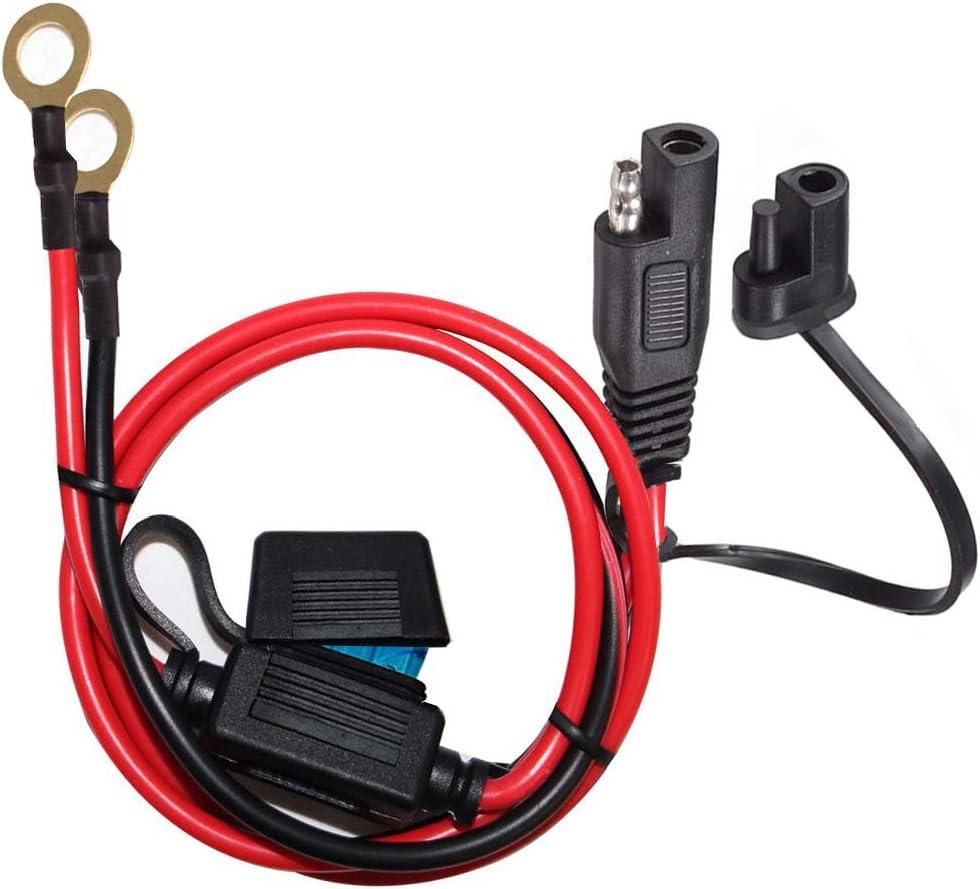 YETOR SAE terminales bateria,con Fusible de protección de 15A para Seguridad,Cable de extensión de batería SAE de 2pin con 2FT10AWG para automóviles de Motocicleta (2FT)