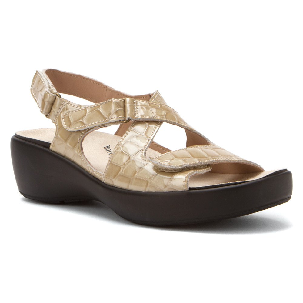 Barefoot Freedom by Drew Abby Women Open Toe Leather Ivory Sandals B00IZ9T4O6 9.5 B(M) US|Bone Croc