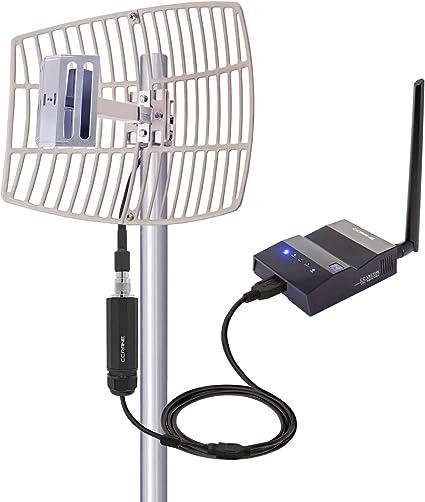 CC Vector Sistema de receptor WiFi de largo alcance extendido, se repite a todos los dispositivos WiFi en una ubicación distante 2,4 GHz