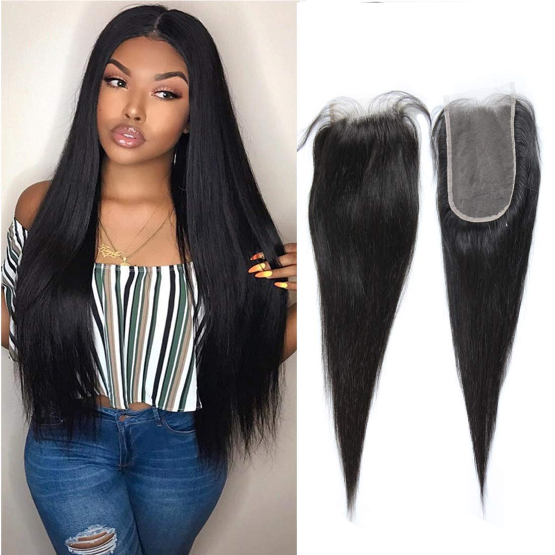 Amazon.com : Straight Wave Lace Front Closure 4X6 Free Part Brazilian Human  Hair Extensions Silky Preplucked Bleached Knots Sew In Weave Virgin Hair  Lace Front Closure For Black Women Wet And Wavy