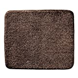 mDesign Soft Microfiber Polyester Non-Slip Small Rectangular Spa Mat, Plush Water Absorbent Accent Rug for Bathroom Vanity, Bathtub/Shower, Machine Washable - 21'' x 17'' - Heathered Chocolate Brown